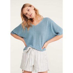 Lou & Grey Double V-Neck Blue Dolman Sweater